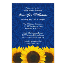 Sunflower Blue Damask Bridal Shower Card at Zazzle