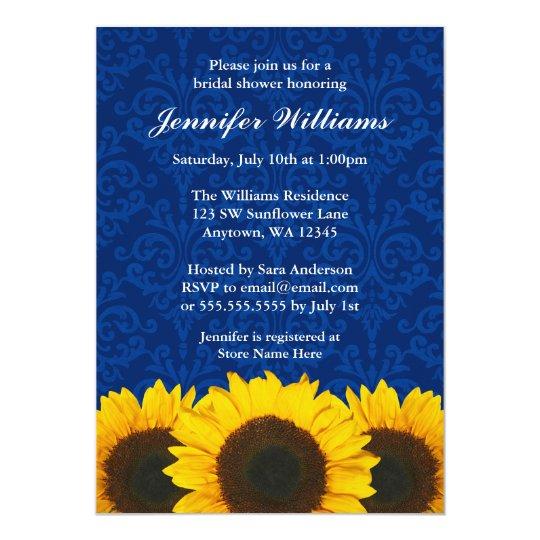 Sunflower Blue Damask Bridal Shower Card