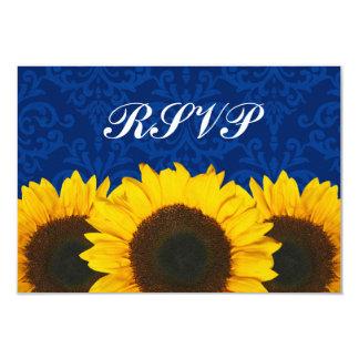 Sunflower Blue Damask Wedding RSVP Response Card