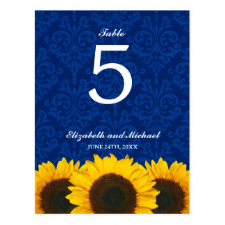 Sunflower Blue Damask Wedding Table Number Postcard