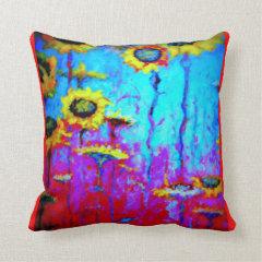Sunflower Blue Moonlight  Mystic Pillow by Sharles Throw Pillows