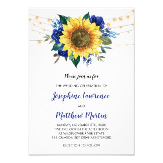 Sunflower Royal Blue Wedding Invitation Templates