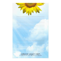 Sunflower Blue Sky Lined Personal Writing Paper at Zazzle