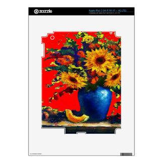 Sunflower,blue vase Still Life Red Gifts iPad 3 Decals