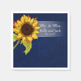 Sunflower/  Blue wedding cocktail napkin