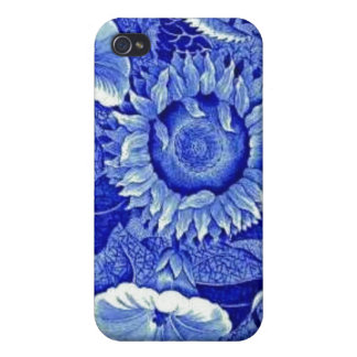 Sunflower Blue White Flower China Pattern Dishes Case For iPhone 4