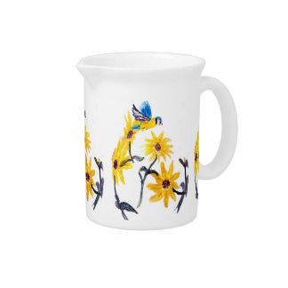 Sunflower Bluetits Floral Art Beverage Pitcher
