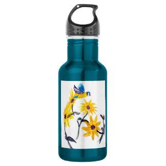 Sunflower Bluetits Floral Art Stainless Steel Water Bottle