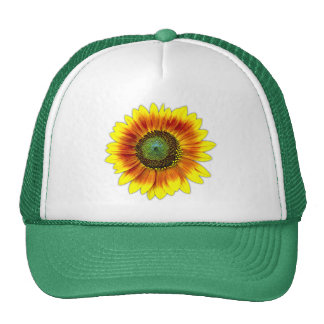 Sunflower Bold Floral Yellow and Green Flower Trucker Hat