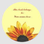 Sunflower Bookplate Classic Round Sticker