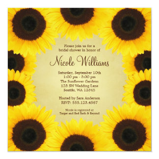 Sunflower Border Bridal Shower Personalized Invitation