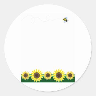 Sunflower Border Classic Round Sticker