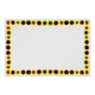 Sunflower Border/Frame without Background Poster