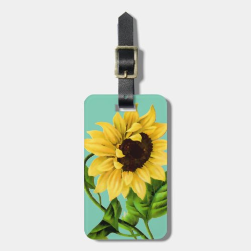 Sunflower Botanical Personalized Bag Tag