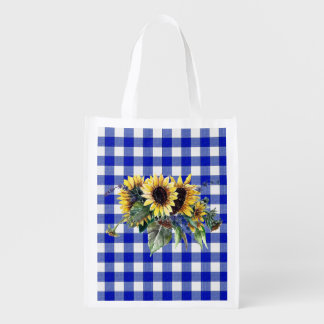 Sunflower Bouquet on Blue Gingham Grocery Bag