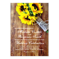 Sunflower Bouquet Rustic Country Wedding Invites