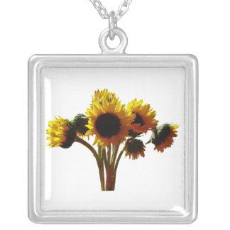 Sunflower Bouquet Square Pendant Necklace