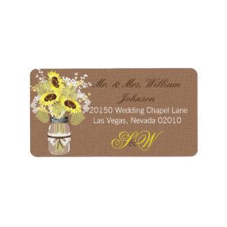 Sunflower Bouquet Wedding Label
