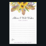 """Sunflower Bridal Shower Advice Cards<br><div class=""""desc"""">Beautiful watercolor sunflowers adorn this lined advice card. Use the template form to fill in your own information. We suggest printing on &quot;value paper&quot; due to the ease of writing on the matte surface. Tie a pretty ribbon around the cards at the end of the event for a nice keepsake...</div>"""