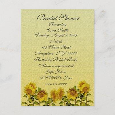 Wedding Shower Accessories on Sunflower Bridal Shower Invitations   Cheap Bridal Shower Invitations