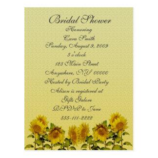 Sunflower  Bridal Shower Invitation Postcard