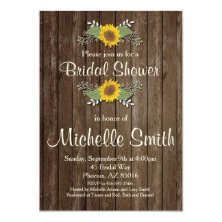 Sunflower Bridal Shower Invitation, Rustic, Floral Card