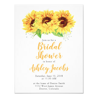 Sunflower Bridal Shower Invitation Watercolor