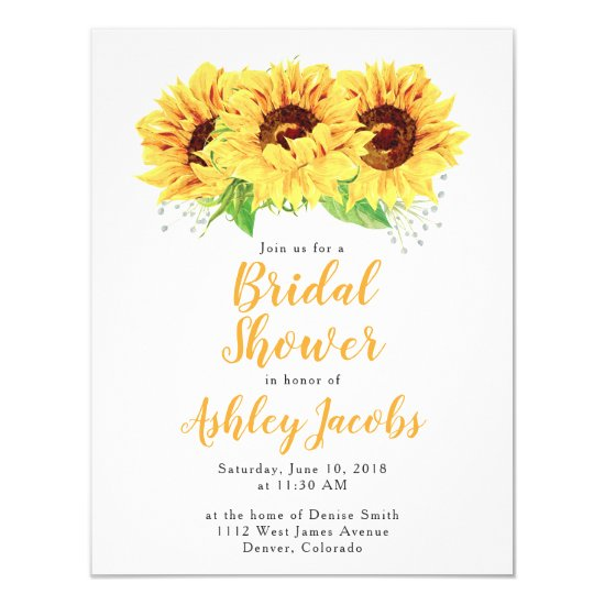 Sunflower Bridal Shower Invitation Watercolor