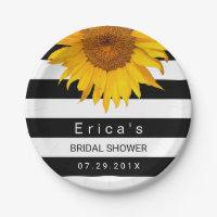 Sunflower Bridal Shower Modern Black White Stripes Paper Plate