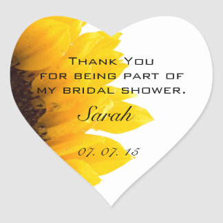 Sunflower Bridal Shower Thank You Heart Stickers