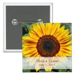 Sunflower Bride & Groom Button