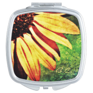 Sunflower Brocade Mirror Compact Mirror For Makeup