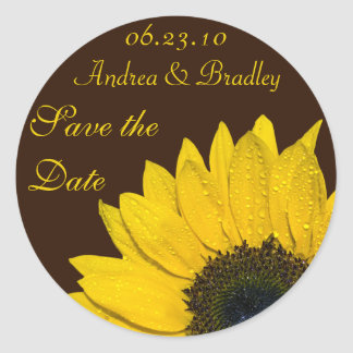 Sunflower Brown Personalized Wedding Stickers