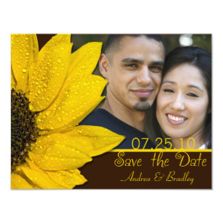 Sunflower Brown Photo Wedding Save the Date Card