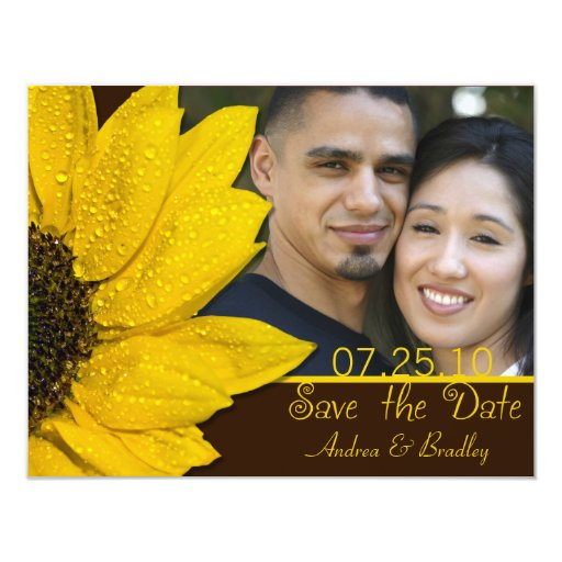 "Sunflower Brown Photo Wedding Save the Date Card 4.25"" X 5.5"" Invitation Card"