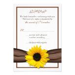 Sunflower Brown Ribbon Wedding RSVP Reply Card