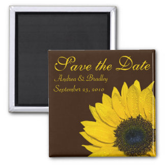 Sunflower Brown Wedding Save the Date Magnet