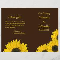 Sunflower Brown Yellow Wedding Program