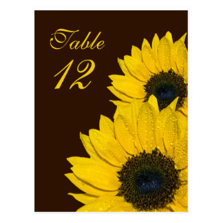 Sunflower Brown Yellow Wedding Table Number Card