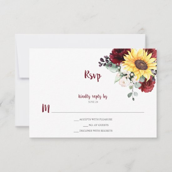 Sunflower Burgundy and White Roses Greenery RSVP Card