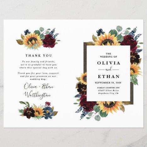 Sunflower Burgundy Blue Folded Wedding Programs