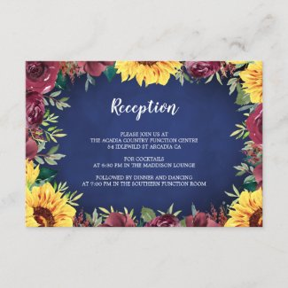 Sunflower Burgundy Rose Border Navy Blue Reception Enclosure Card