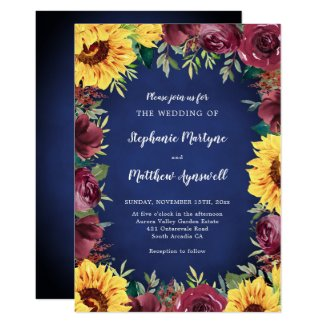Sunflower Burgundy Rose Border Navy Wedding Invitation