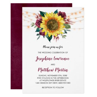 Sunflower Burgundy Rose Floral Lights Wedding Invitation