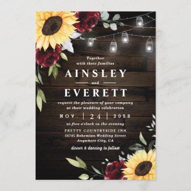 Sunflower Burgundy Rose Mason Jar Themed Wedding Invitation