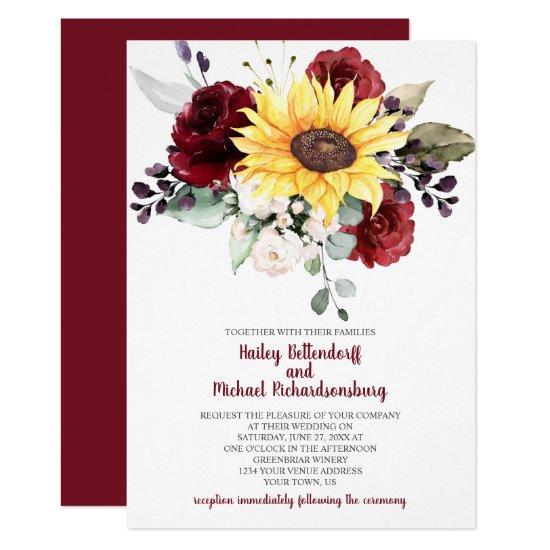 Sunflower Burgundy Roses Greenery Wedding Invitation