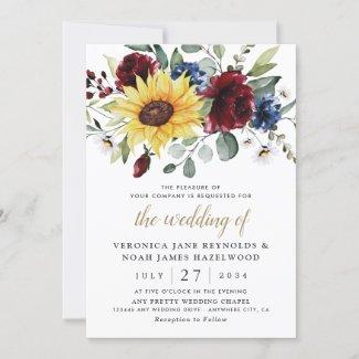 sunflower and burgundy rose wedding invitations, Navy Blue Rustic Invites