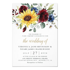 sunflower and burgundy rose wedding invitations, Navy Blue Rustic Invites