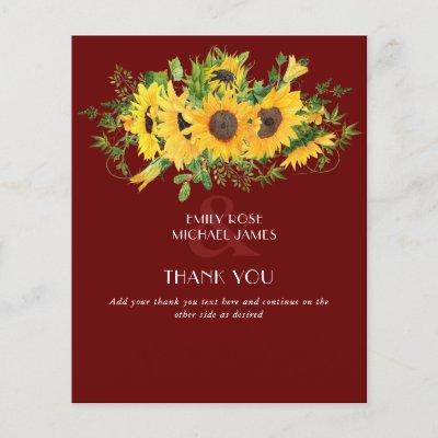 Sunflower Burgundy Wedding Thank You