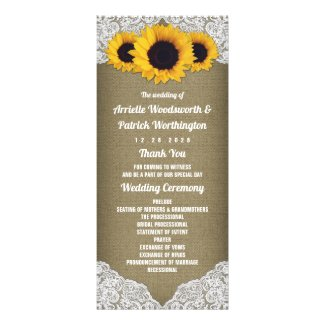 Sunflower Burlap and Lace Rustic Wedding Programs